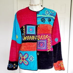 Allure multicolored embroidered jacket Sz. Ps